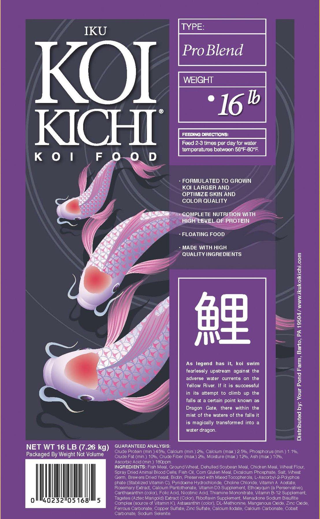 Iku Koi Kichi Pro Blend Koi Fish Food - 16 lbs. (Bucket)